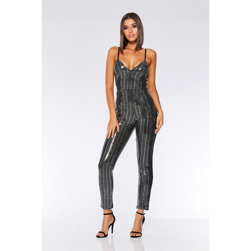 119c8758ea Quiz - Black And Silver Sequin Bodycon Jumpsuit