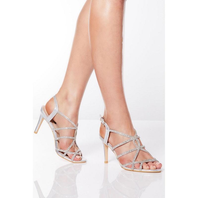 Quiz - Silver Shimmer Diamante Sandals