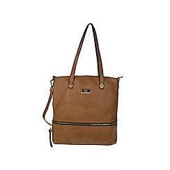 Gionni Accessories - Tan Karina front zipper tote bag