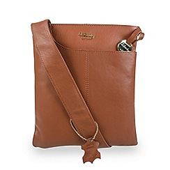 Gionni Accessories - Tan 'Shaula' leather zip top crossbody