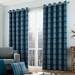 Curtina - Brodie teal lined eyelet heading curtains