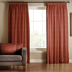 Tru Living - Chic terracotta  polyester/cotton lined pencil pleat curtains