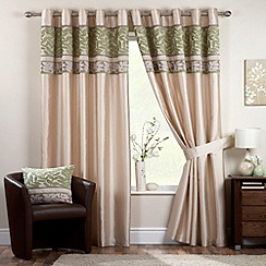 Curtina - Coniston Green Lined Eyelet Curtains