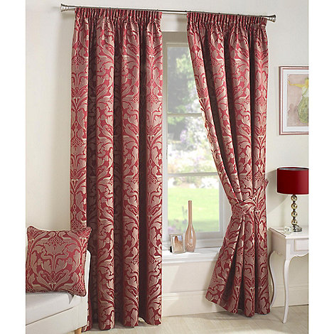 Curtina - Crompton Red Lined Pencil Pleat Curtains