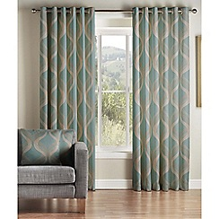 Jeff Banks Home - Cyrus Teal Lined Eyelet Curtains