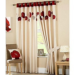 Curtina - Danielle Red Lined Eyelet Curtains
