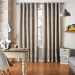 Jeff Banks Home - Diego Silver Eyelet Heading Lined Curtains