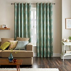 Jeff Banks Home - Diego Teal Eyelet Heading Lined Curtains