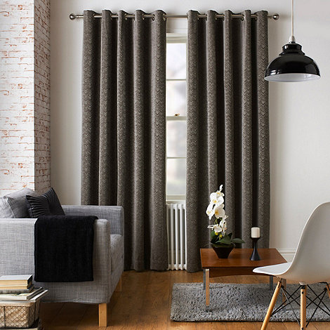 Jeff Banks Home Ennerdale Charcoal Eyelet Heading Lined Curtains | Debenhams