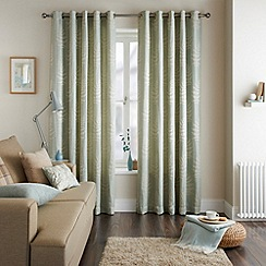 Jeff Banks Home - Fern Eau de Nil Eyelet Heading Lined Curtains