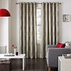 Jeff Banks Home - Fern Mink Eyelet Heading Lined Curtains