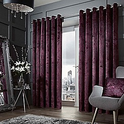 Curtina - Forbury purple lined curtain eyelet heading curtains