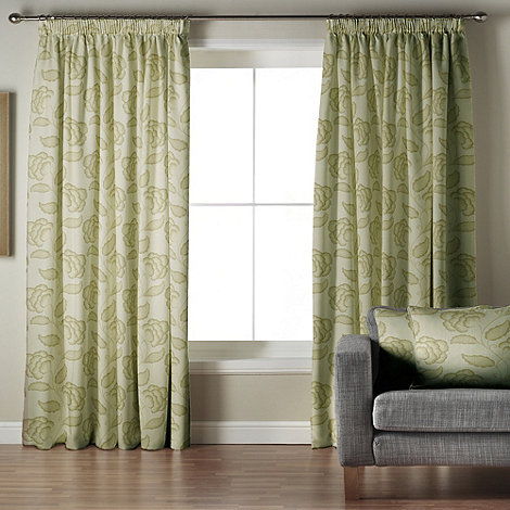 Whiteheads - Garland Green Lined Pencil Pleat Curtains