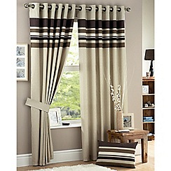 Curtina - Harvard Chocolate Lined Eyelet Curtains