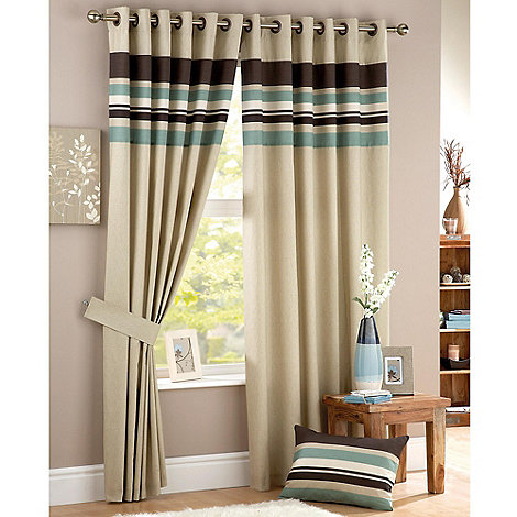 Curtina - Harvard Duck Egg Lined Eyelet Curtains