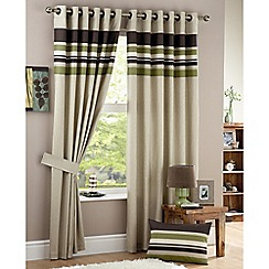 Curtina - Harvard Green Lined Eyelet Curtains