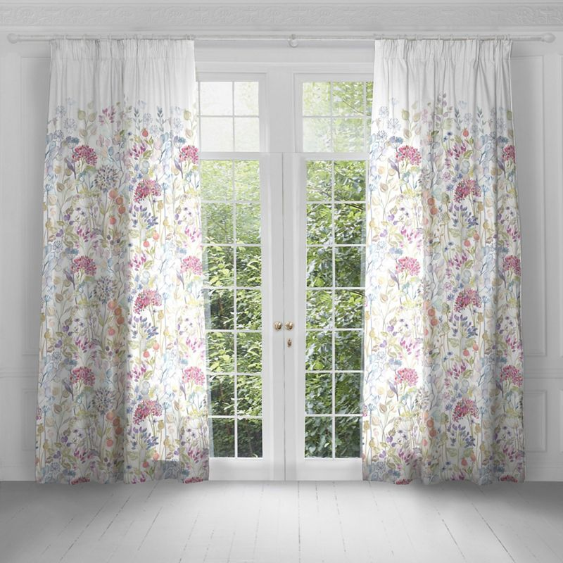Voyage - Hedgerow White Lined Pencil Pleat Heading Curtains