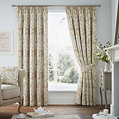 Curtina - Highland floral ochre lined curtain pencil pleat heading curtains