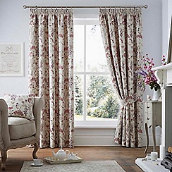 Curtina - Highland floral purple lined curtain pencil pleat heading curtains
