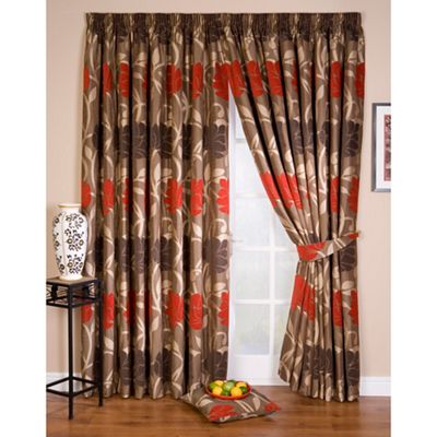 Whiteheads Lucille Red Lined Pencil Pleat Curtains Debenhams