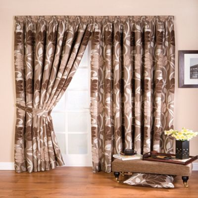 Whiteheads Lucille Taupe Lined Pencil Pleat Curtains - . -