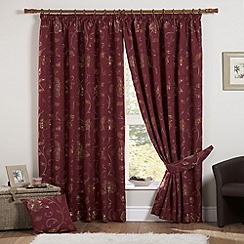 Curtina - Maybury Claret Lined Pencil Heading Curtains
