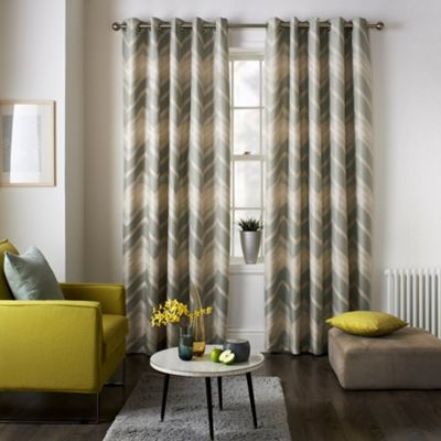 Jeff Banks Home Mexico Grey Eyelet Heading Lined Curtains
