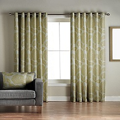 Jeff Banks Home - Monaco Green Lined Eyelet Curtains