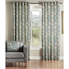 Jeff Banks Home - Monaco Teal Lined Eyelet Curtains