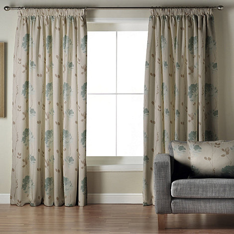 Whiteheads - Mozart Teal Lined Pencil Pleat Curtains