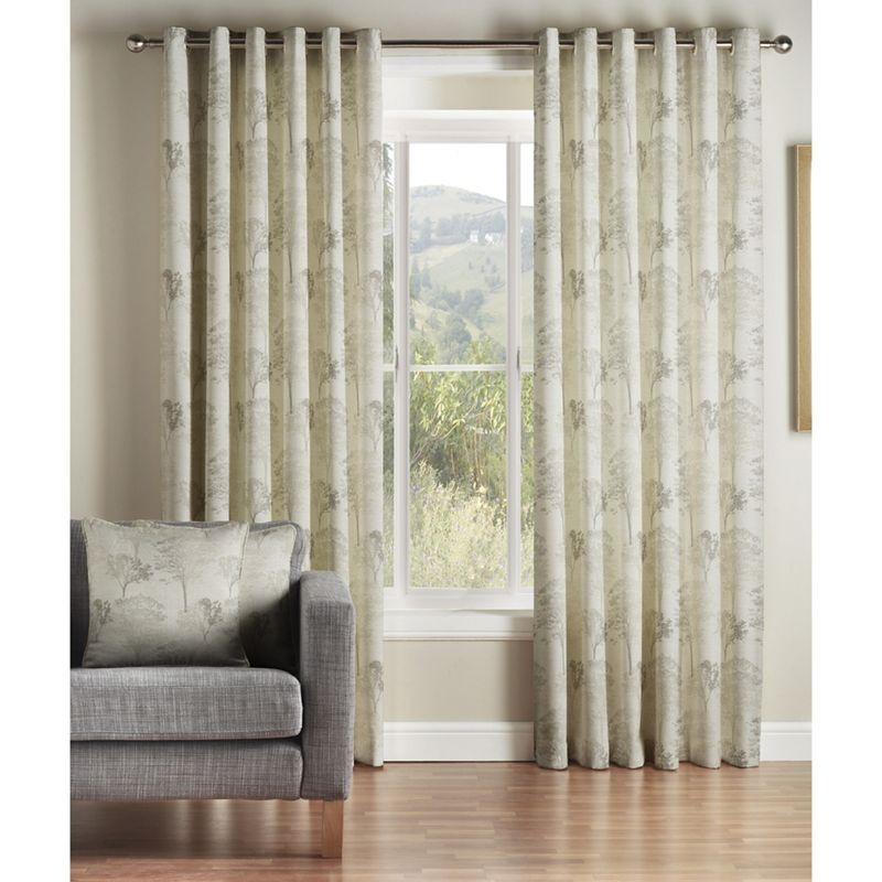 Montgomery - Natural Oak Lined Eyelet Curtains