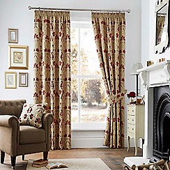 Curtina - Ruskin red/gold lined curtain pencil pleat heading curtains