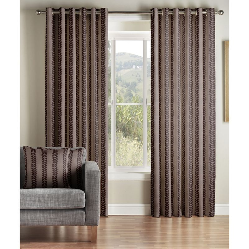 Jeff Banks Home Sierra Chocolate Lined Eyelet Curtains