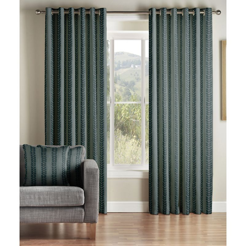 Jeff Banks Home Sierra Teal Lined Eyelet Curtains, Blue