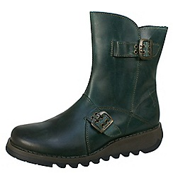 Fly London - Dark green Seti biker boots in petrol