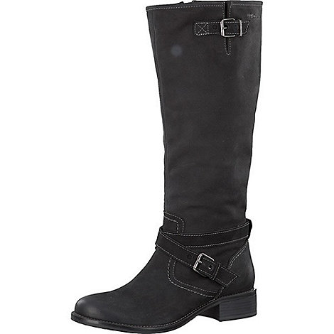 Tamaris - Black high boots with feature wrap around straps