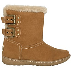 Pixie - Camel lucy faux fur ankle boots