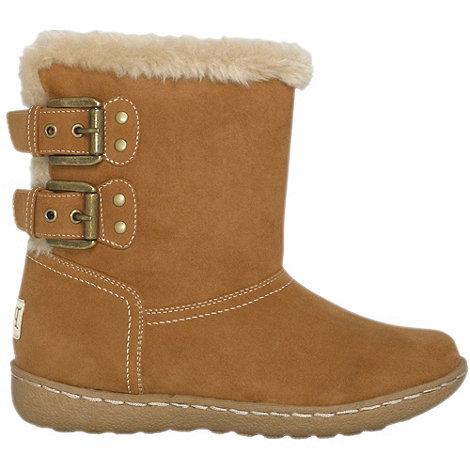 Pixie - Camel lucy faux fur ankle boots