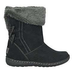 Pixie - Black sophie faux fur cuff mid boots