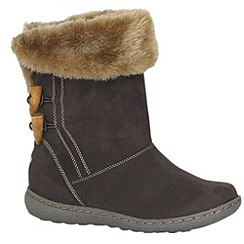 Pixie - Chocolate sophie faux fur cuff mid boots