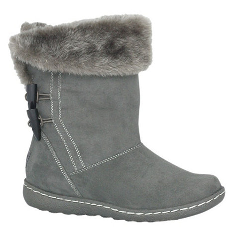 Pixie - Grey sophie faux fur cuff mid boots
