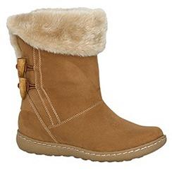 Pixie - Camel sophie faux fur cuff mid boots
