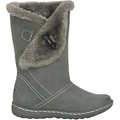 Pixie - Grey ellie toggle faux fur mid boots