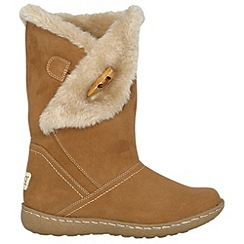Pixie - Camel ellie toggle faux fur mid boots