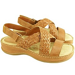 Hush Puppies - Womens tan 'Ceylon' sling sandals