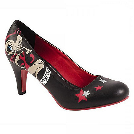 TUK - Black/red kitty and stars high heels shoes