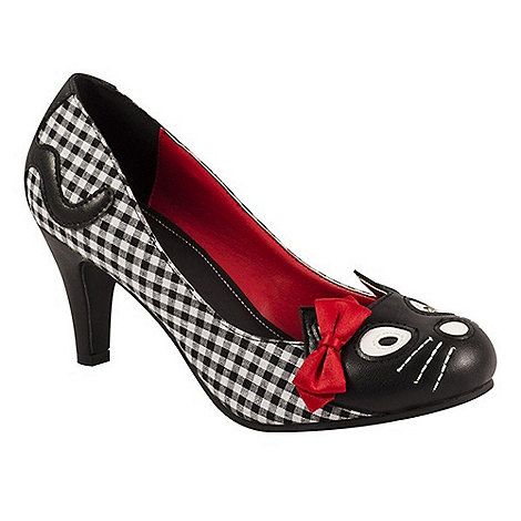 TUK - Black/white gingham kitty high heels shoes