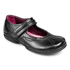 Pod - Black leather junior school shoes