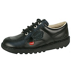 Kickers - Black 'Kick Low' core youth school shoes