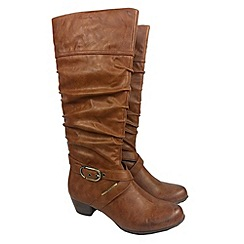 Tamaris - Tan mid ruched boot mid boots